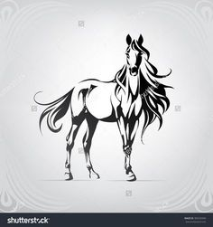 Silhouette of a horse with a long mane