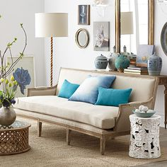 Wisteria - European Formal Sofa I like, lamp, sofa, aqua velvet pillows, ceramic stool