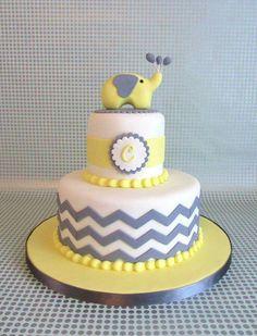 Elephant Chevron  Yellow & Gray Cake