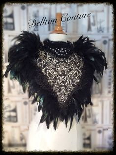 Halloween Queen of the Night Black Feather & Lace Collar Top.
