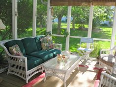 Simple and Serene    Spincycle 421 says this screened porch at their home in Wisconsin gets used rain or shine. Faux wicker furniture has saved annual touchup painting of the real thing.
