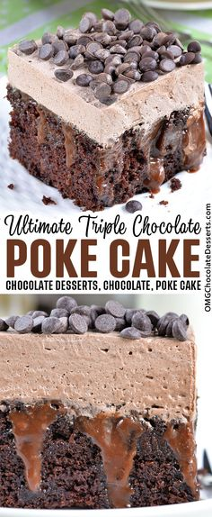 Chocolate Poke Cake is an easy cake recipe that starts with a cake mix filled with silky ganache and topped with creamy chocolate frosting! #chocolate #poke #cake Summer Dessert Recipes, Easy Cake Recipes, Desert Recipes, Dessert Ideas, Delicious Desserts, Best Chocolate Desserts, Chocolate Treats, Chocolate Frosting, Best Potato Salad Recipe