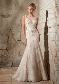 2709 Crystal Beaded Embroidery and Alencon Lace Appliques on Net Mori Lee Bridal Wedding Dress | Morilee