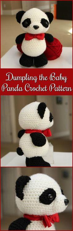 Dumpling the Baby Panda Amigurumi Crochet Pattern #crochet #ad #amigurumi #pdf