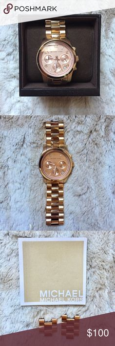 Rose Gold Chronograph Michael Kors Watch This Michael Kors chronograph rose gold watch is in perfect condition.   Used only 2-3x   Box and adjustable pieces available. Michael Kors Jewelry