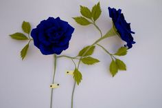 Blue Paper Rose – Handmade Paper Flowers – Roses available in any color – Valentine's Day, Wedding, Home Decor, Gift Paper Flowers Roses, Blue Roses, Crepe Paper, Geraniums, Office Decor, Flower Pots, Valentines, Plants, Gifts
