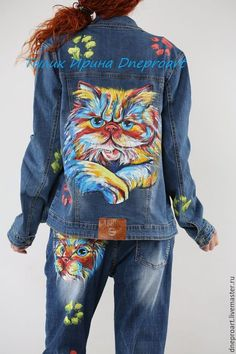 / fierce kitty / handpainted denim jacket and jeans /