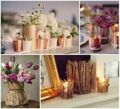 I think the coffee tins are my favorite idea so far....just spray paint, wrap some lace and twine, and arrange a few flowers! A few on each table of varying sizes would be cute and home-y. :)
