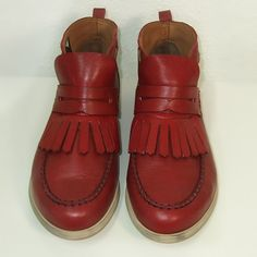 BEATRIZ FUREST Soft Leather Deck Shoe Red