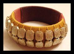 Ornate Tricolored Woven Thread Bangle with by NatashaGuptaJewelry, $70.00