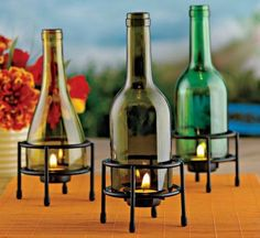Recycled Wine Bottle Tealight Holder (Set of in Fall 2012 from Wine Enthusiast Wine Bottle Candles, Recycled Wine Bottles, Wine Bottle Corks, Wine Bottle Crafts, Bottles And Jars, Glass Bottles, Beer Bottles, Bottle Lamps, Wine Glass