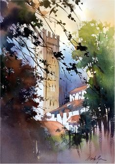 Cathedral of San Martino - Lucca, Italy. Cathedral of San Martino – Lucca, Italy. Thomas W Schaller. Plein Air Watercolor Demonstration cm – 24 May 2018 — in Lucca, Italy. Watercolor City, Watercolor Landscape Paintings, Landscape Artwork, Watercolor Sketch, Watercolor Artists, Landscape Illustration, Watercolor Techniques, Watercolor Illustration, Abstract Landscape