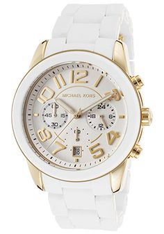 Michael Kors  Women's Mercer White Silicone and Gold-Tone Steel Chronograph