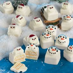 Santa & Snowmen Fun Cakes These fun cakes are a new twist on a bite size dessert. Each Fun Cake has rich vanilla buttercreme between layers of  white cake and then topped with a dollop of more rich vanilla buttercreme.  Smooth creamy coatings are poured over each cake