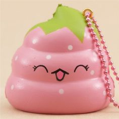 scented pink Crazy Poo strawberry squishy by Puni Maru