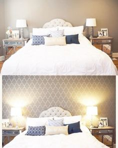 Before and After of a DIY stenciled accent wall in a bedroom using the Marrakech Trellis Allover Stencil from Cutting Edge Stencils.    http://www.cuttingedgestencils.com/moroccan-stencil-marrakech.html?utm_source=JCG&utm_medium=Pinterest%20Comment&utm_campaign=Marrakech%20Trellis%20Allover