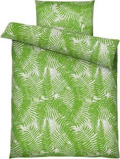Bettwäsche aus 100% Baumwoll-Renforcé in der Farbe Grün. B/L: ca. 135/200cm und 80/80cm.