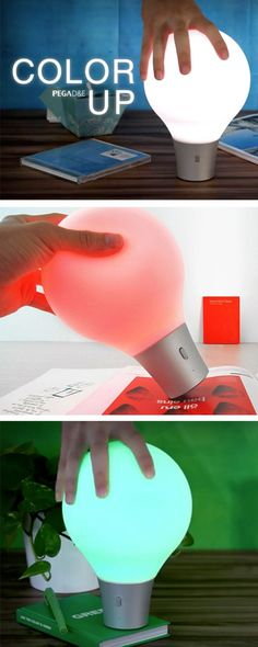 Squeezable lamp that changes color to whatever surface it's on: