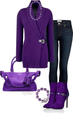 Pretty Casual Purple - love the boots and bag Purple Outfits, Komplette Outfits, Casual Outfits, Fashion Outfits, Womens Fashion, Fashion Trends, Purple Fashion, Look Fashion, Winter Fashion