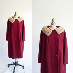 Vintage 50s Speckled Cranberry Coat | Burgundy Red Tweed | Fur Collar | Winter Coat | Via: Etsy.