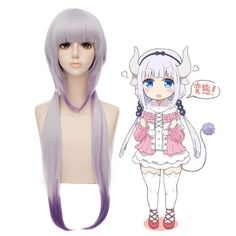 Cosplay Costume Miss Kobayashi/'s Dragon Maid Kanna Kamui Uniform Headpeices Wig