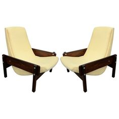 Pair Of Sergio Rodrigues Vronka Chairs  MidCentury  Modern, Upholstery  Fabric, Wood, Lounge Chair by Adesso Eclectic Imports