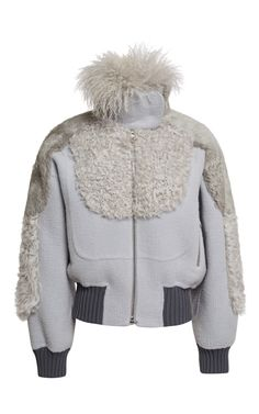 Pale Grey Bomber Jacket With Mixed Fur Detailing by Marc Jacobs for Preorder on Moda Operandi