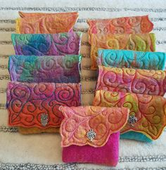 Handmade Wet Felted Coin Purse with Silver Effect Charm - Sale! Shop at Stylizio for womens and mens designer handbags luxury sunglasses watches jewelry purses wallets clothes underwear Felt Wallet, Felt Purse, Coin Purse, Handmade Purses, Handmade Felt, Felted Wool Crafts, Felt Crafts, Nuno Felting, Needle Felting