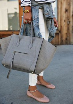 Sincerely Jules // striped shirt, white ripped jeans, denim jacket, grey Céline luggage bag, Chloé sandals
