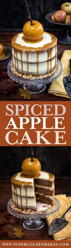 This spiced apple layer cake with mascarpone frosting is the perfect cake for fall | Supergolden Bakes