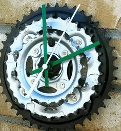Recycled Bicycle Chain Ring Gear Wall Clock, from Reused Bike Parts. Black, Green and Silver. Unique Home Decor or Gift. Useful Art Piece.