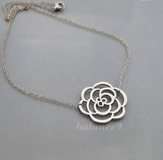 Silver flower necklace simple charm pendant everyday by balance9, $19.00