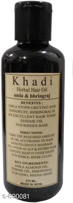 Hair Care Khadi Amla & Bhringraj Hair oil ( Pack of 1 )   *Type* Hair Oil  *Capacity* 210 ml  *Description* It Has 1 Pack Of Hair Oil (Khadi Herbal Amla & Bhringraj Hair Oil)  *Sizes Available* Free Size *   Catalog Rating: ★4.1 (455)  Catalog Name: Free Sample KHADI Hair Care Products Vol 13 CatalogID_103988 C50-SC1249 Code: 551-890081-