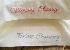 King Size Embroidered Pillowcases Pick a Pair by PeaceLoveAndRoses, $31.00