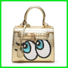 8a71e3c4cbeb Funny Eyes Pattern Handbag Alligator Women Bag For Party Spoof Cartoon Eyes  Shoulder Bags For Women Luxury Brand Lock Yellow
