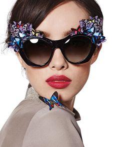 Anna-Karin Karlsson 3D Glitter Butterfly Sunglasses USD 865.00