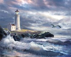 North Head Lighthouse Painting - North Head Lighthouse At The Eve Of A Storm by Regina Femrite