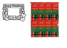 Color Your Own Happy Valentines Day Picture Frame 1 dz with Crayons 24 boxes 4 crayons per pack ** Learn more by visiting the image link.