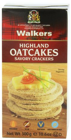 Amazon.com : Walkers Highland Oatcakes, Savory Crackers, 10.6-Ounce Boxes (Pack of 4) : Oat Crackers : Grocery & Gourmet Food.  These things are weirdly tasty.  I got them from my brother's local grocery store when I visited him in Philly in July 2013.  They were a handy snack for the plane ride home.