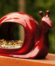 Loving this Ruby Enchanted Snail Bird Feeder on #zulily! #zulilyfinds