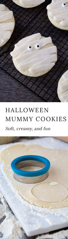 These delicious mummy cookies are sure to add plenty of spooky fun to your child's lunchbox! They are soft, creamy, and will delight children of all ages! #halloween #cookies via @https://www.pinterest.com/fireflymudpie/