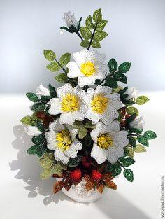 Купить Белый шиповник - белый, шиповник из бисера, юнона и авось, подарок на любой случай