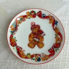 Christmas Teddy Bear Collectible Plate/ Vintage Ceramic Plate Christmas Presence by Gordon Fraser 1984 by vintagepoetic on Etsy