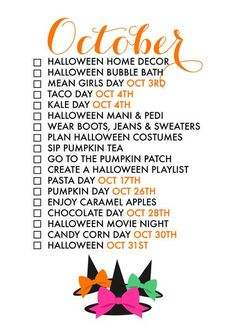 18 Reasons To Celebrate October If we dont make an effort to treasure each day life has a way of passing us by too quickly Seasonal living is a way to help Life Planner, Happy Planner, Monthly Planner, Monthly Celebration, Mean Girls Day, Life List, Months In A Year, Planners, Fall Halloween