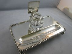 Solid Sterling Silver Pen Tray Inkwell Adie Bros. 1959/60 310g