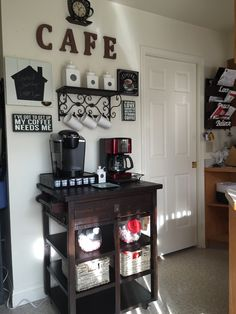 Best Home Coffee Bar Ideas For All Coffee Lovers My coffee bar must have style. The genuine coffee bar is created cabinet. Your coffee bar wants a coffee maker of your preference, but should you adore the ease of brewing one fresh cup at one time, whe Coffee Nook, Coffee Corner, My Coffee, Coffee Maker, Coffee Bar Station, Home Coffee Stations, Tea Station, Coffee Bars In Kitchen, Coffee Bar Home