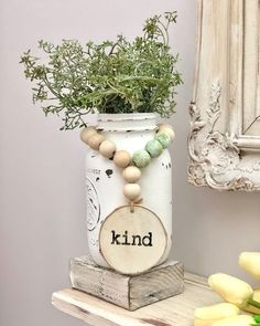 Painted mason jars are a great addition to your farmhouse decor. One word wooden bead garland loop - wood beads - bottle beads - farmhouse beads - cottage style decor Wood Bead Garland, Beaded Garland, Diy Garland, Bead Bottle, Crafts To Make, Diy Crafts, Bible Crafts, Art And Craft Videos, Cottage Style Decor