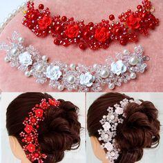 Свадебный кристалл тиара Корона свадебное платье с жемчужные украшения керамическая головка цветка ленты для волос китайские красные аксессуары для волос - Taobao