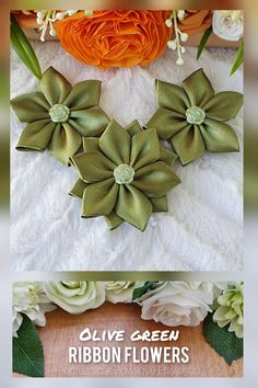 The flower appliques, made from high quality satin ribbon and decorated with green flower appliques in the center are perfect for any DIY project! Can be used for creating headbands, hair accessories, brooches, bouquets, corsages, mason jars, embellishing a scrapbook, making a greeting card or adding a special touch to a gift package. Handmade Flowers, Decorative Flowers, Gift Wrapping Ideas, Applique Flower Supplies, Crafts #flowersupplies #ribbonflowers #crafts #diyprojects #etsyflowers Simple Flowers, Green Flowers, Handmade Flowers, Handmade Crafts, Wrapping Ideas, Gift Wrapping, Green Ribbon, Flower Applique, Gift Packaging
