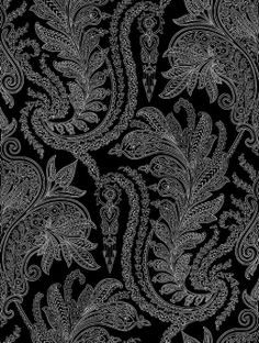 Raheem (AR200501) - Shand Kydd Wallpapers - A pretty floral symmetrical damask design in striking white on black. Wide width.  Please request sample for true colour match and texture. This is a pre pasted wallcovering.
